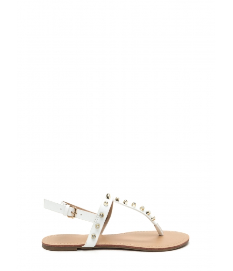 Incaltaminte Femei CheapChic Light A Sparkler Studded T-strap Sandals White