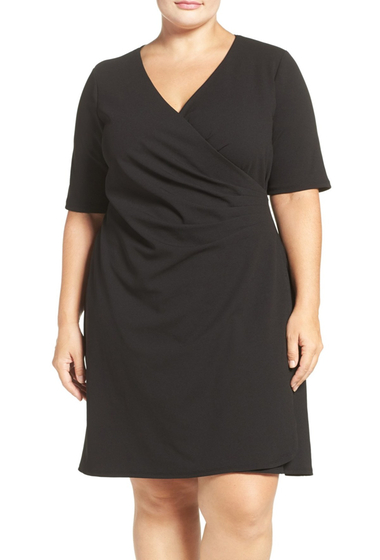 Imbracaminte Femei Adrianna Papell Pleat Faux Wrap Dress Regular Plus Size BLACK