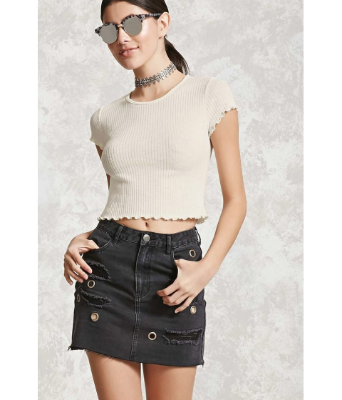Imbracaminte Femei Forever21 Ribbed Knit Crop Top Cream