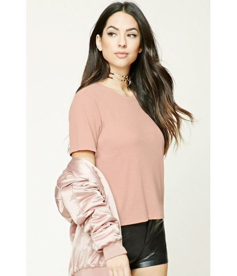 Imbracaminte Femei Forever21 Ribbed Slub Knit Boxy Top Dusty pink