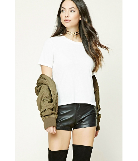 Imbracaminte Femei Forever21 Ribbed Slub Knit Boxy Top Cream