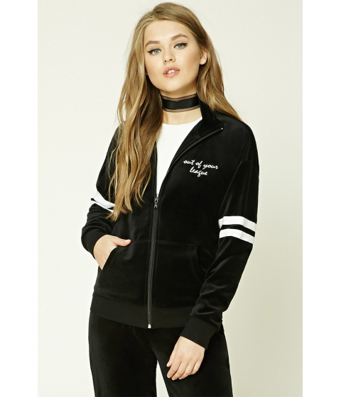 Imbracaminte Femei Forever21 Embroidered Velvet Jacket Blackcream