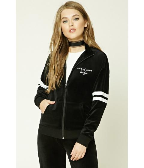 Imbracaminte Femei Forever21 Embroidered Velvet Jacket Blackcream
