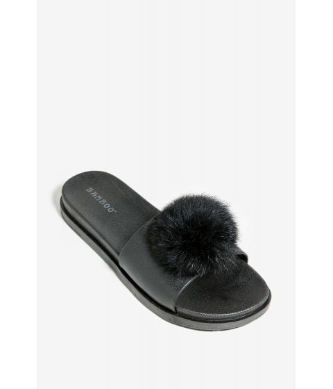 Incaltaminte Femei CheapChic Evie Fur Trim Pool Slide Black