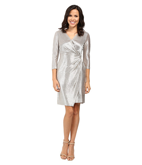 Imbracaminte Femei Tahari by ASL Foil Knit Side Knot Dress Silver Powder