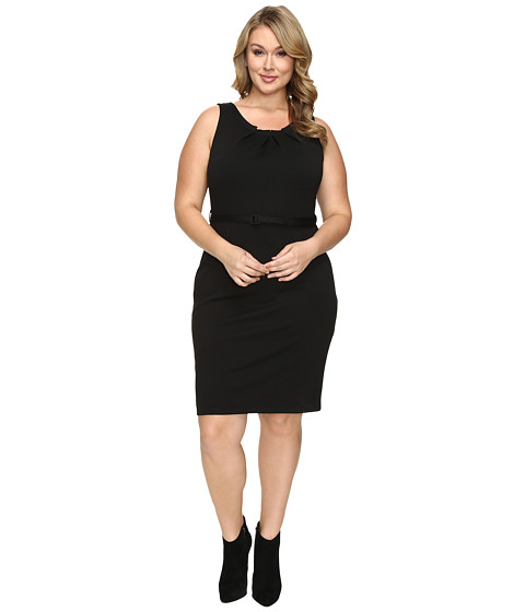 Imbracaminte Femei Christin Michaels Plus Size Merla Sleeveless Pleated Ponte Dress Black