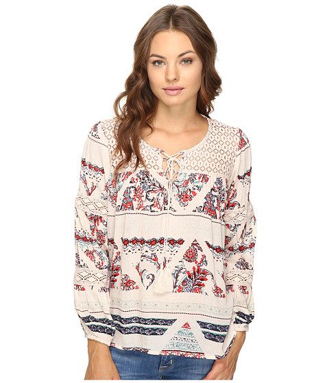 Imbracaminte Femei Brigitte Bailey Gizela Long Sleeve Printed Top with Lace CreamMulti