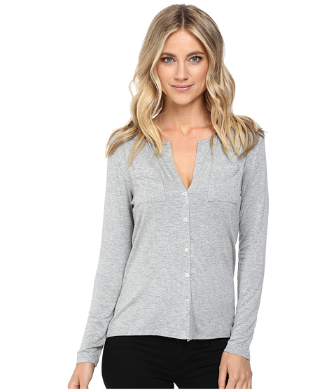 Imbracaminte Femei Culture Phit Breya Long Sleeve Button Up Top Heather Grey