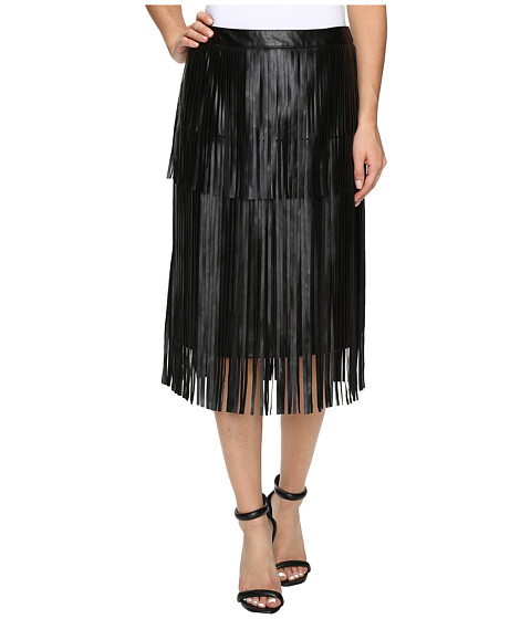 Imbracaminte Femei Vince Camuto Pleather Fringe Tiered Skirt Rich Black