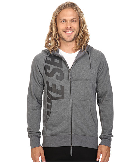 Imbracaminte Barbati Nike SB Lightweight Everett Dri-FIT Full Zip Hoodie Charcoal HeatherBlack