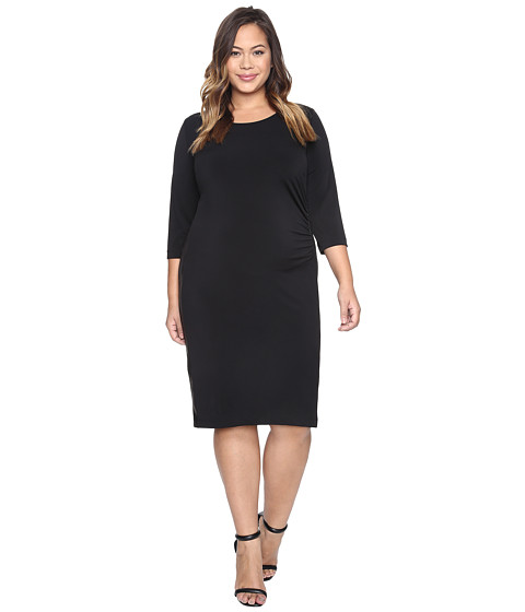 Imbracaminte Femei Karen Kane Plus Size Faux Leather Inset Dress Black