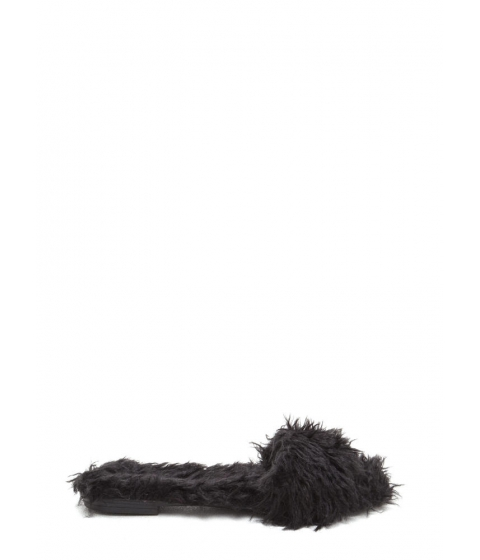Incaltaminte Femei CheapChic Whats The Furry Faux Fur Slippers Black