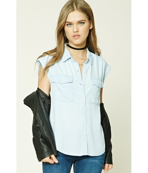 Imbracaminte Femei Forever21 Striped Chambray Shirt Light blue