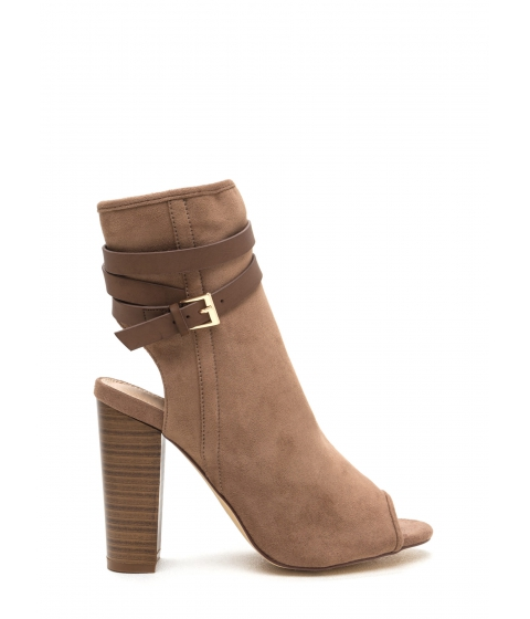 Incaltaminte Femei CheapChic Lets Wrap Chunky Faux Suede Booties Taupe