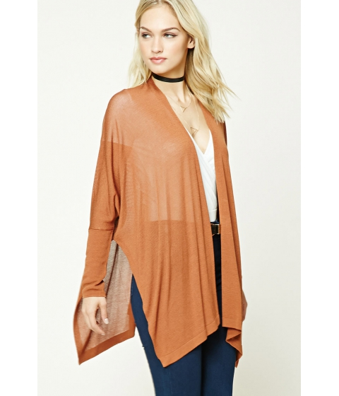 Imbracaminte Femei Forever21 Contemporary Side-Slit Cardigan Ginger
