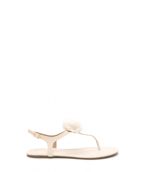 Incaltaminte Femei CheapChic Pom Dot Com T-strap Thong Sandals Beige