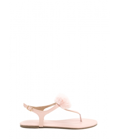 Incaltaminte Femei CheapChic Pom Dot Com T-strap Thong Sandals Blush