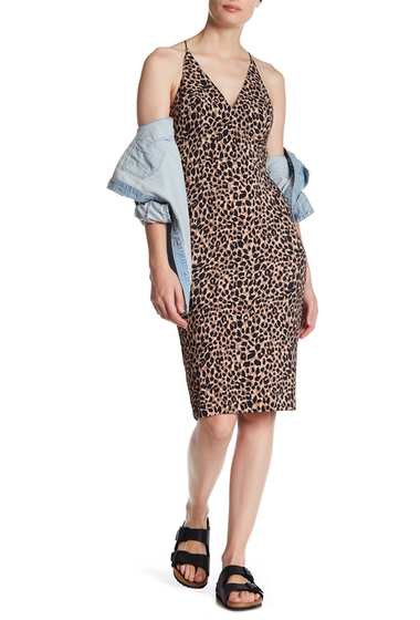 Imbracaminte Femei TOPSHOP Animal Print Plunge Bodycon Midi Dress MULTI