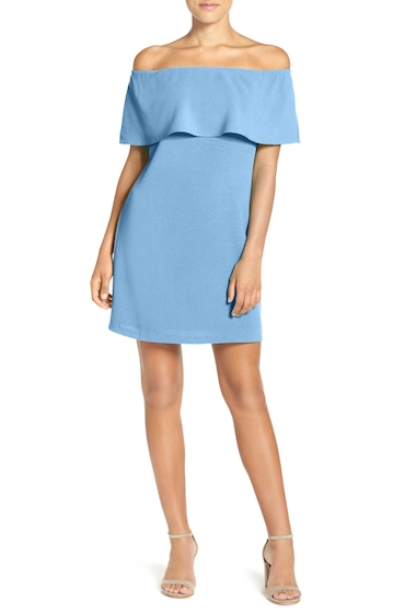 Imbracaminte Femei Charles Henry Off the Shoulder Woven A-Line Dress SKY BLUE