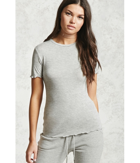 Imbracaminte Femei Forever21 Heathered Knit Ruffle Tee Heather grey