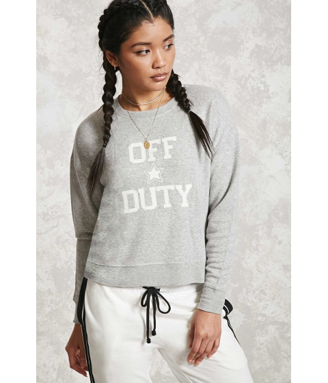 Imbracaminte Femei Forever21 Off Duty Graphic Sweatshirt Grey
