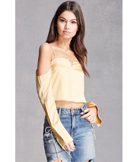Imbracaminte Femei Forever21 Satin Open-Shoulder Crop Top Yellow