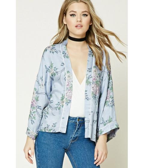 Imbracaminte Femei Forever21 Contrast Piping Floral Kimono Bluepurple
