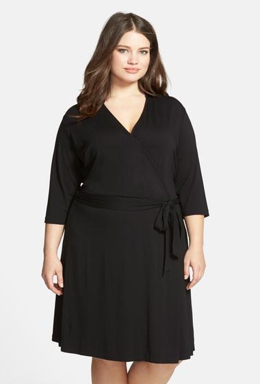 Imbracaminte Femei Vince Camuto Jersey Faux Wrap Dress Plus Size RICH BLACK
