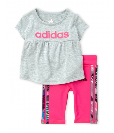 Imbracaminte Fete adidas (NewbornInfant Girls) Logo Tee Leggings Set Grey Heather