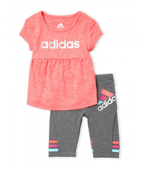 Imbracaminte Fete adidas (Infant Girls) Logo Tee Stripe Cuff Leggings Set Flash Red