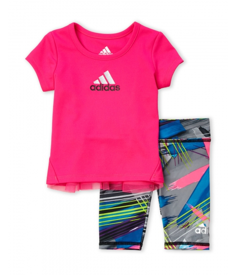 Imbracaminte Fete adidas (NewbornInfant Girls) Two-Piece Tunic Printed Leggings Set Shock Pink
