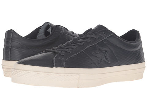Incaltaminte Femei Converse One Starreg Mesh Backed Leather Ox Almost BlackBlackParchment