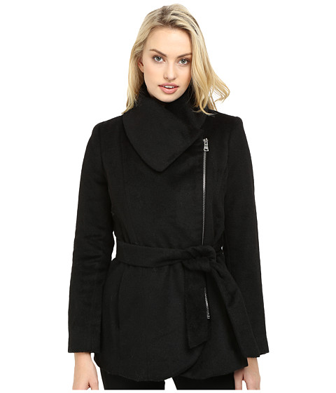Imbracaminte Femei Jessica Simpson Brushed Wool Touch Coat w Asymmetrical Zip Black