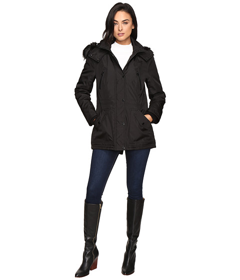 Imbracaminte Femei Jessica Simpson Anorak Quilted Bonded w Hood and Faux Fur Black