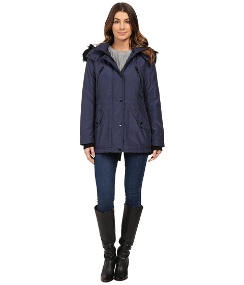 Imbracaminte Femei Jessica Simpson Anorak Quilted Bonded w Hood and Faux Fur Indigo
