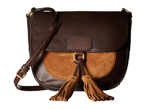 Genti Femei Frye Clara Saddle Dark Brown Soft Vintage LeatherSuede