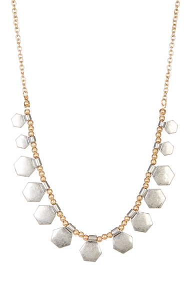 Accesorii Femei Melrose and Market Hexagon Charm Beaded Necklace GOLD-RHODIUM