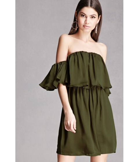 Imbracaminte Femei Forever21 Satin Off-the-Shoulder Dress Olive