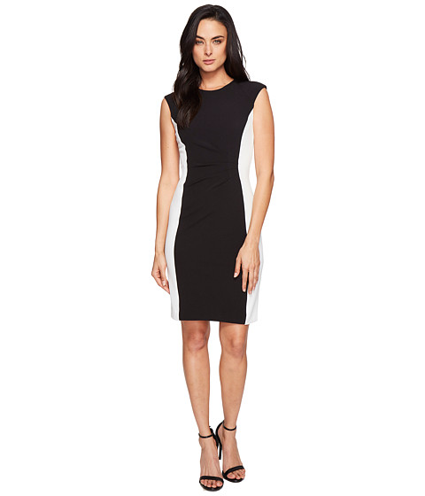Imbracaminte Femei Tahari by ASL Side Ruche Color Block Sleeveless Crepe Sheath BlackIvory