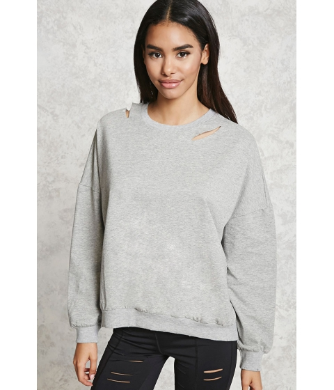 Imbracaminte Femei Forever21 Distressed Cutout Sweatshirt Heather grey