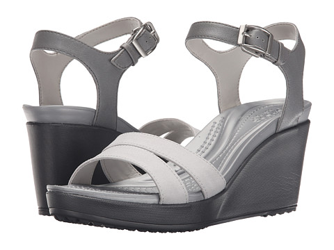 Incaltaminte Femei Crocs Leigh II Ankle Strap Wedge SmokeCharcoal