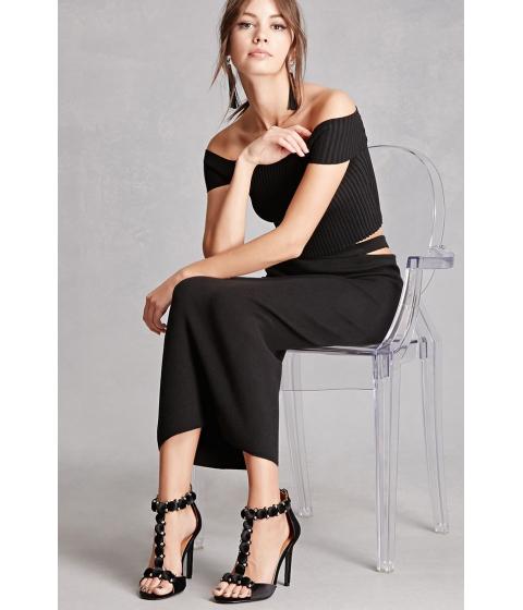Incaltaminte Femei Forever21 Velvet Studded T-Strap Heels Black