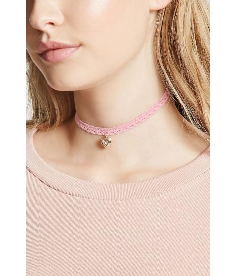 Bijuterii Femei Forever21 Crochet Heart Locket Choker Pinkgold