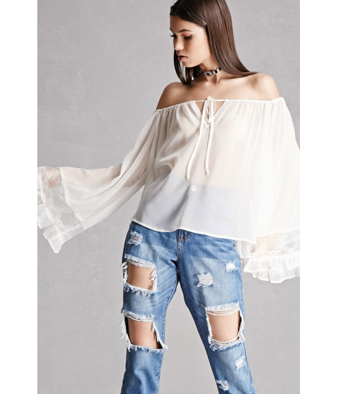 Imbracaminte Femei Forever21 Sheer Off-the-Shoulder Top White