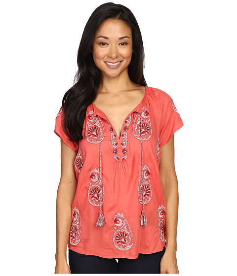 Imbracaminte Femei Lucky Brand Embroidered Short Sleeve Top Spiced Coral