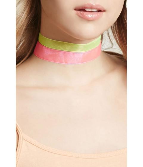 Bijuterii Femei Forever21 Sheer Ribbon Choker Set Yellowpink