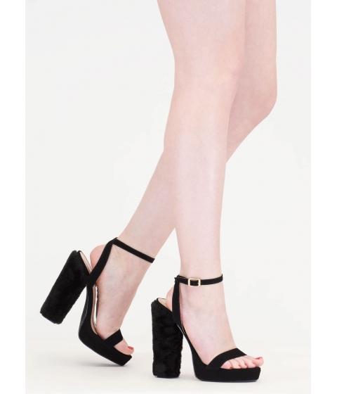 Incaltaminte Femei CheapChic Ask Fur It Chunky Faux Leather Heels Black