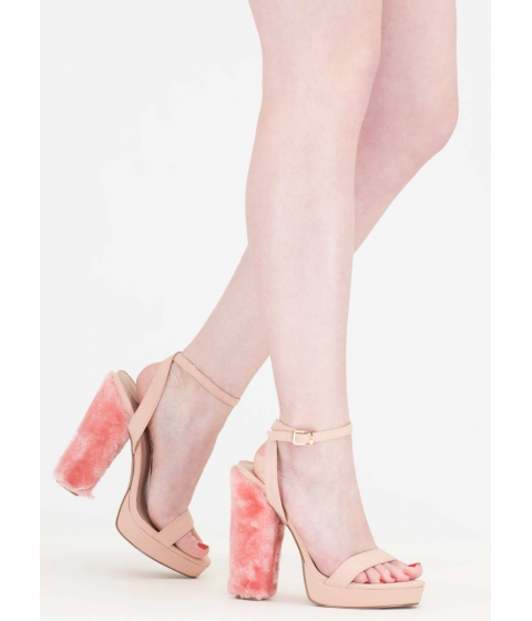 Incaltaminte Femei CheapChic Ask Fur It Chunky Faux Leather Heels Pink
