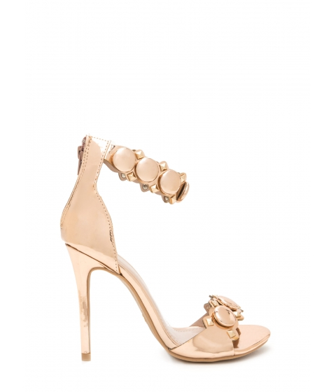 Incaltaminte Femei CheapChic Circle The Stud Faux Patent Heels Rosegold