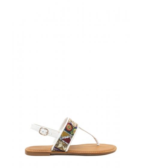 Incaltaminte Femei CheapChic Bali Beach Embroidered T-strap Sandals White